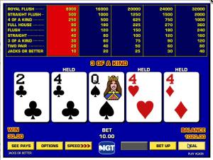 TropicanaCasino Game King Jacks or Better Video Poker